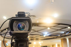 Video Camera has focus. To the showing on  the stage for broadcasting and recording Stock Images