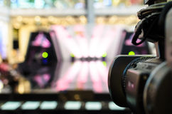 Video Camera has focus. To the showing on  the stage for broadcasting and recording Royalty Free Stock Images