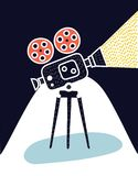 Video camera icon. On a dark background royalty free illustration