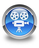 Video camera icon glossy blue round button Stock Photo