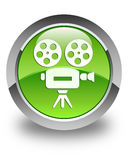 Video camera icon glossy green round button Stock Image