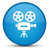 Video camera icon special cyan blue round button Stock Images