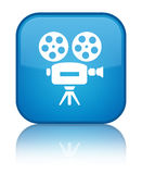 Video camera icon special cyan blue square button Stock Images