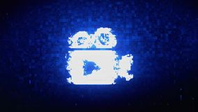 Video Camera Icon Symbol Digital Pixel Noise Error Animation.
