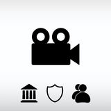 Video camera icon, vector illustration. Flat design style. Web icon for the site, in a flat style Royalty Free Stock Photography