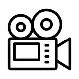 Video camera icon. Video camera thin  line icon Stock Images