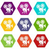 Video camera icons set 9 vector. Video camera icons 9 set coloful isolated on white for web Royalty Free Stock Photos