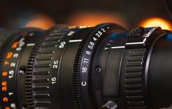Video camera lens. Recording show in TV studio - focus on camera aperture Stock Images