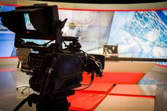 Video camera lens recording show in tv studio focus on camera ap Royalty Free Stock Images