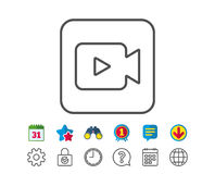 Video Camera line icon. Movie or Cinema sign. Multimedia symbol. Calendar, Globe and Chat line signs. Binoculars, Award and Download icons. Editable stroke Stock Photography