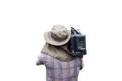 Video camera man operator isolated on white background. Video camera man operator isolated on white background Stock Photos