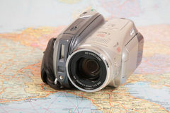 Video-camera on map Royalty Free Stock Photo