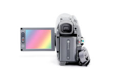 Video camera  with open viewfinder Royalty Free Stock Image