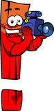 Video camera operator exclamation mark Stock Photography