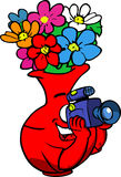 Video camera operator flower vase Royalty Free Stock Photos