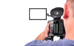 Video camera operator isolated on a white background. stock photo