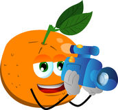 Video camera operator orange Royalty Free Stock Photography