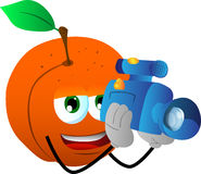 Video camera operator peach Royalty Free Stock Image