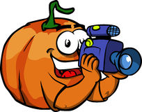 Video camera operator Pumpkin Royalty Free Stock Photography