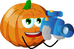Video camera operator pumpkin Stock Photography