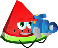 Video camera operator slice of watermelon Stock Images