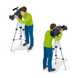 Video camera operator working with his professional equipment  on white background. Flat 3d vector isometric Stock Image