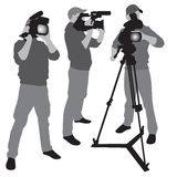 Video camera operator. Working with his professional equipment  on white background. Vector format Royalty Free Stock Photo