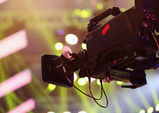Video camera. Over Stage Lights background Royalty Free Stock Photography
