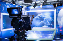 Video camera - recording show in TV studio Royalty Free Stock Photo