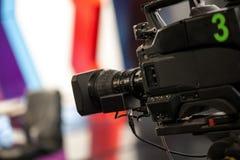 Video camera - recording show in TV studio Stock Photo
