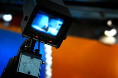 Video camera - recording in TV studio Royalty Free Stock Photos