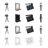 Video, camera, screen, and other web icon in cartoon style. Film, boy, clothes, icons in set collection. Royalty Free Stock Photography