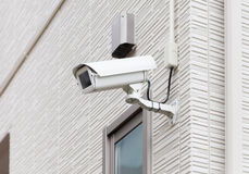 Video camera security system on the wall Royalty Free Stock Image