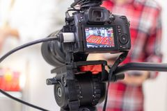 Video camera shooting eyelash extension equipment stock photo