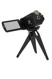 Video camera on small tripod Royalty Free Stock Photos