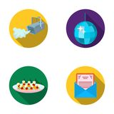 A video camera with smoke, a twirling holiday ball, a plate of sandwiches, an envelope with a greeting card. Event. Services set collection icons in flat style Royalty Free Stock Photos