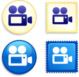 Video Camera on Stamp and Button. 