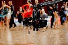 Video camera television broadcast. Of latino international dancin Royalty Free Stock Photos