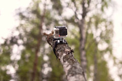 Video camera tied to the wooden log Stock Image