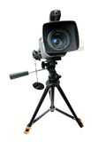 Video camera on tripod. Isolated over white stock image