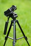Video camera on tripod Royalty Free Stock Photo