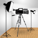 Video camera on tripod Stock Photo