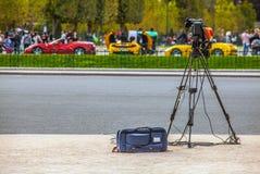 Video camera on tripod without operator. Paris. Royalty Free Stock Photo