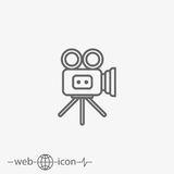 Video camera vector icon. On grey background Stock Photos