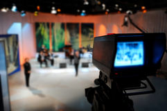 Video camera viewfinder. Recording in TV studio royalty free stock images