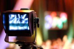Video camera viewfinder. Recording TV show stock photos