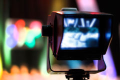Video camera viewfinder. Recording TV show stock photography