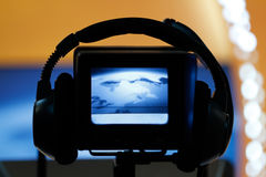 Video camera viewfinder. Recording in TV studio - Talking To The Camera stock images