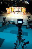 Video camera viewfinder. Recording in TV studio - Talking To The Camera royalty free stock photos