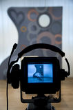 Video camera viewfinder. Recording in TV studio - Talking To The Camera royalty free stock image